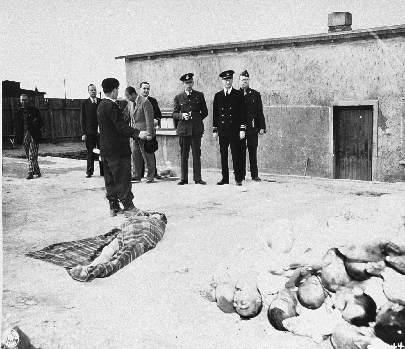 Members of the Allied War Crimes Commission are shown the bodies of prisoners killed in Buchenwald concentration camp.