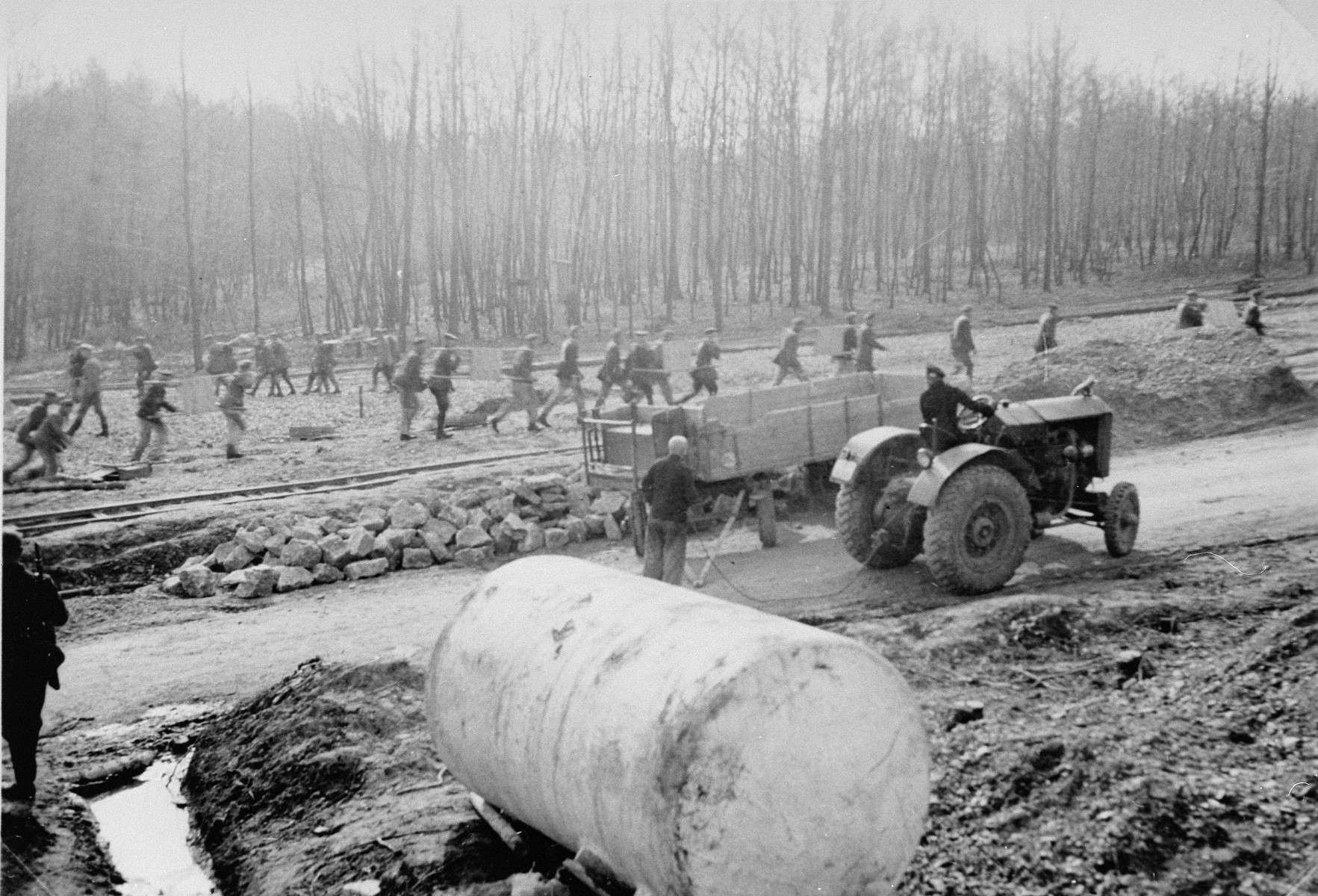 Buchenwald prisoners at forced labor doing road construction.