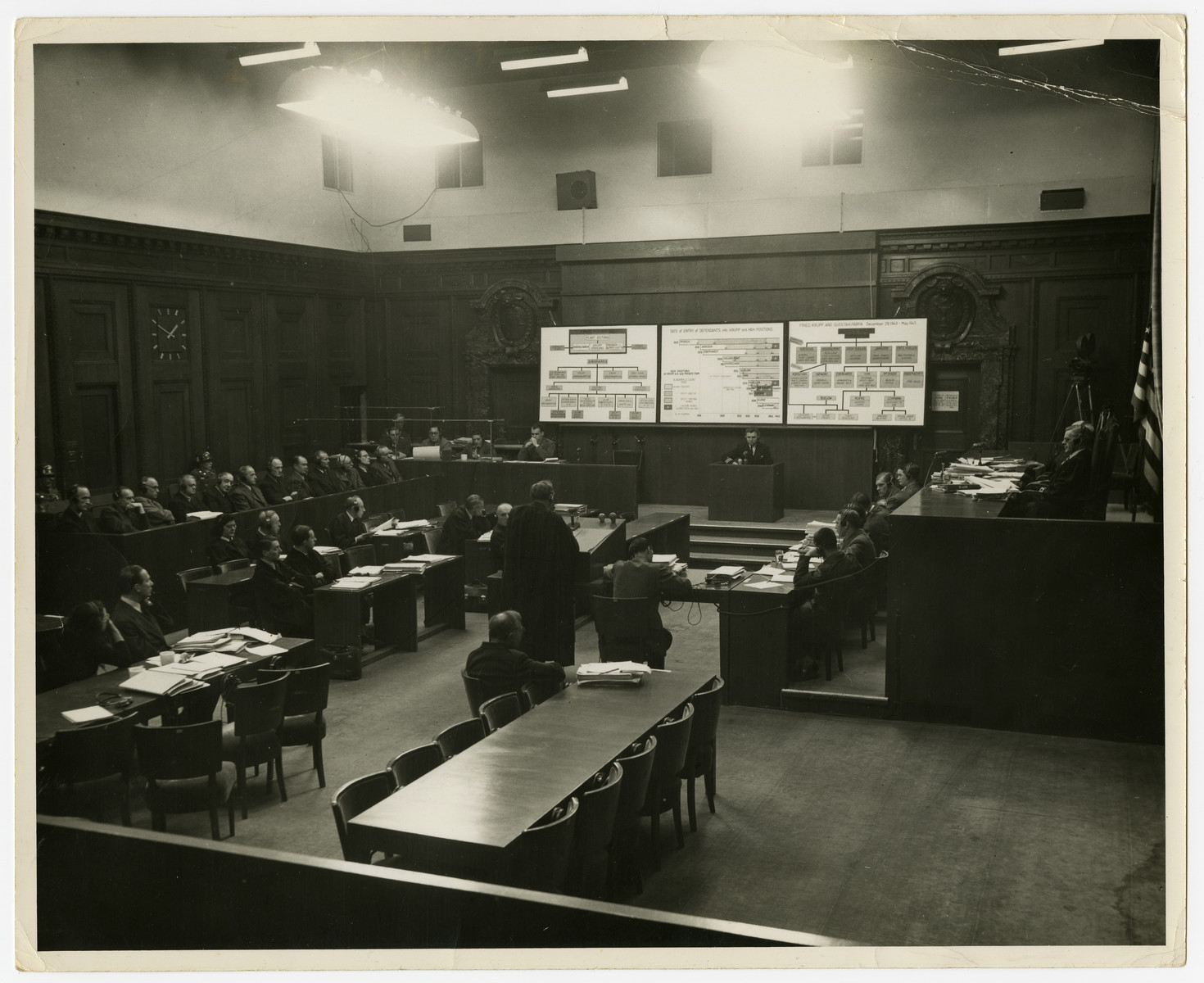 Courtroom view of the Krupp proceedings.  The defendants are seated on the right; the judges are seated on the right and a poster showing organizational structures is in the front.