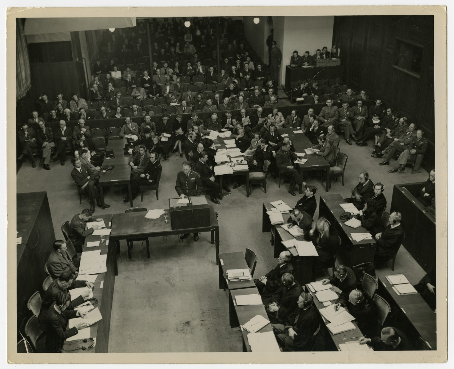 View of the courtroom proceedings of the Krupp case.