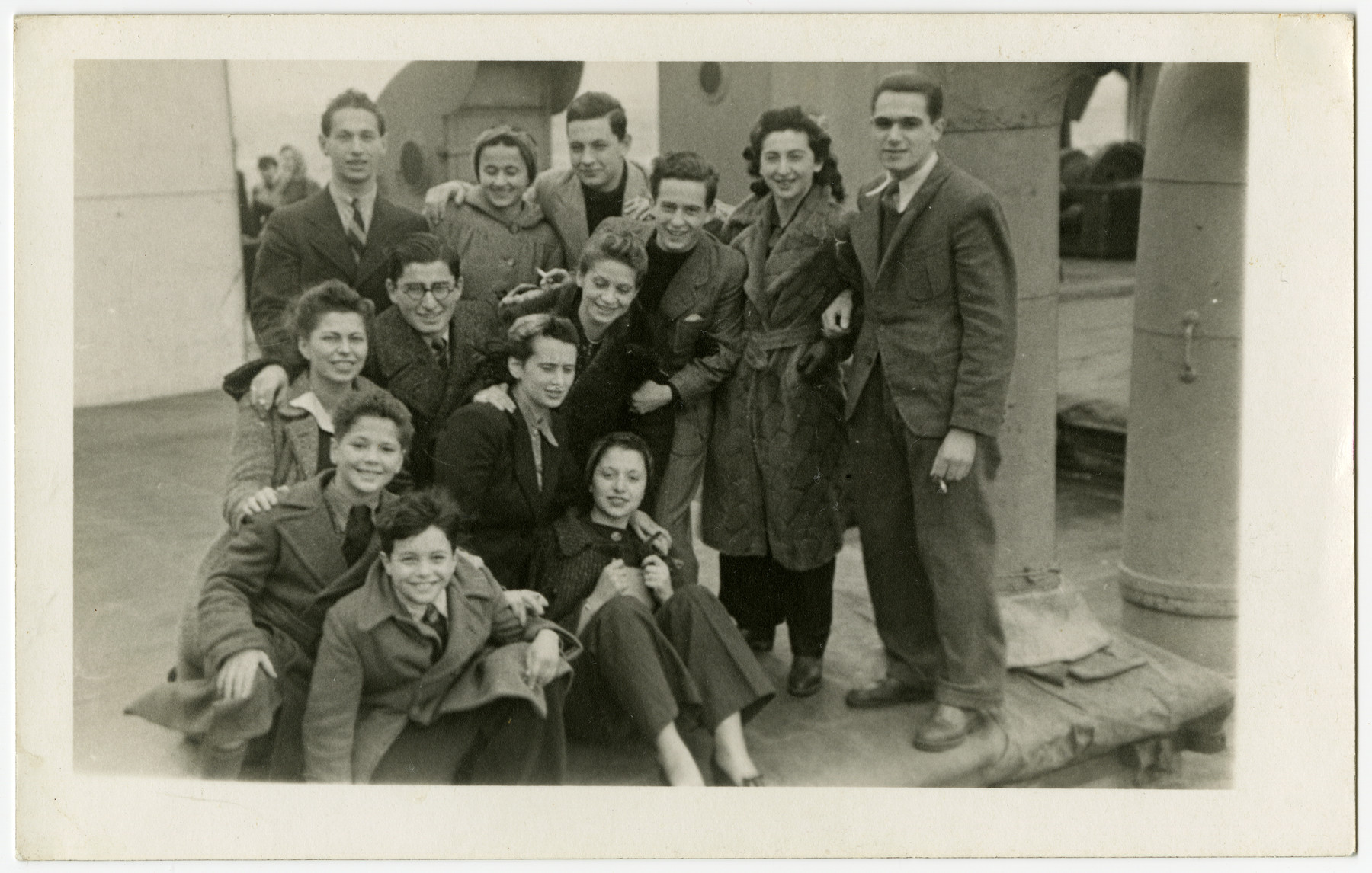 Group portrait of German Jews en route to the United States on board the President Harding.