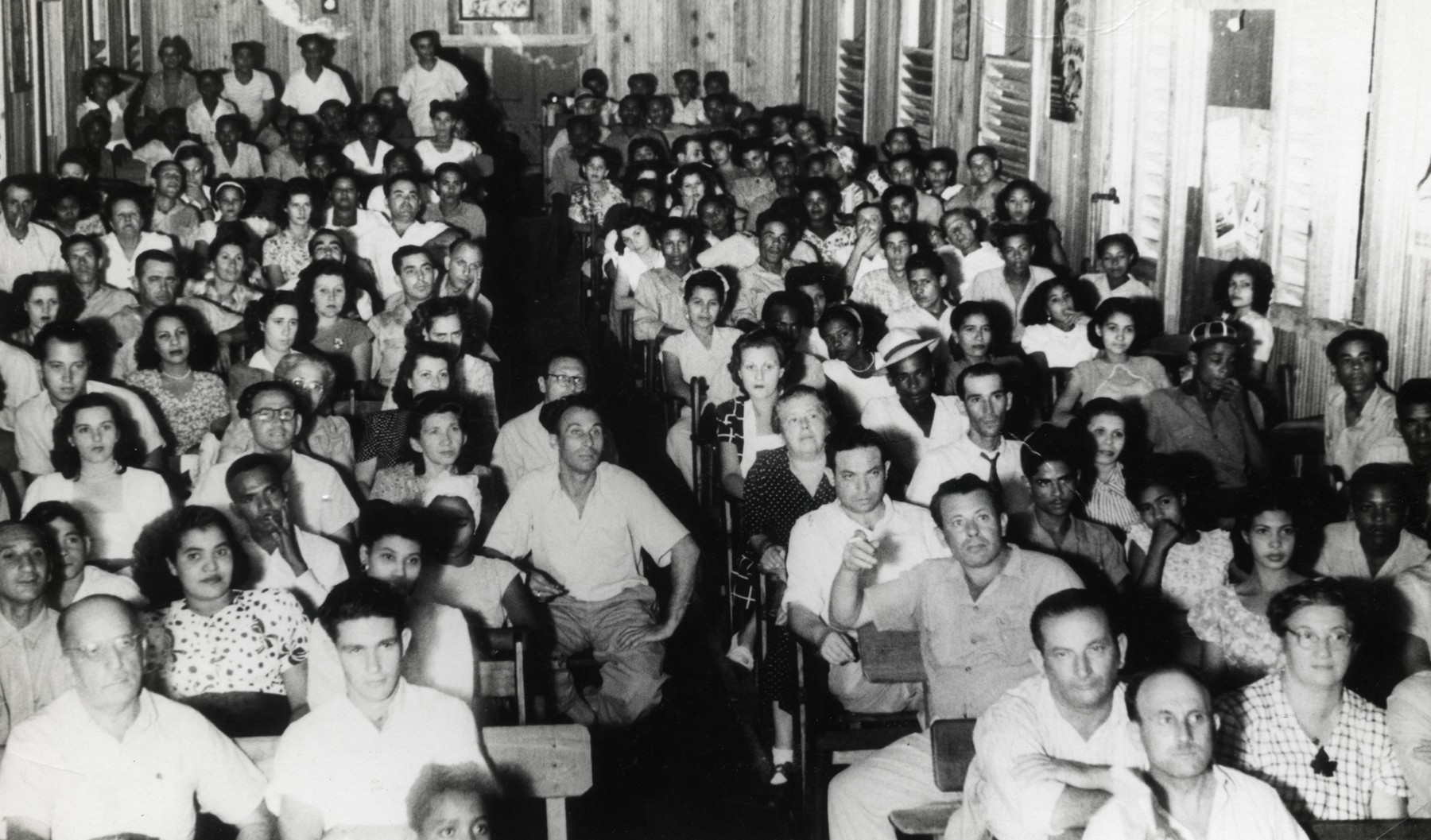 Jewish refugees attend the theater in the Sosua colony.