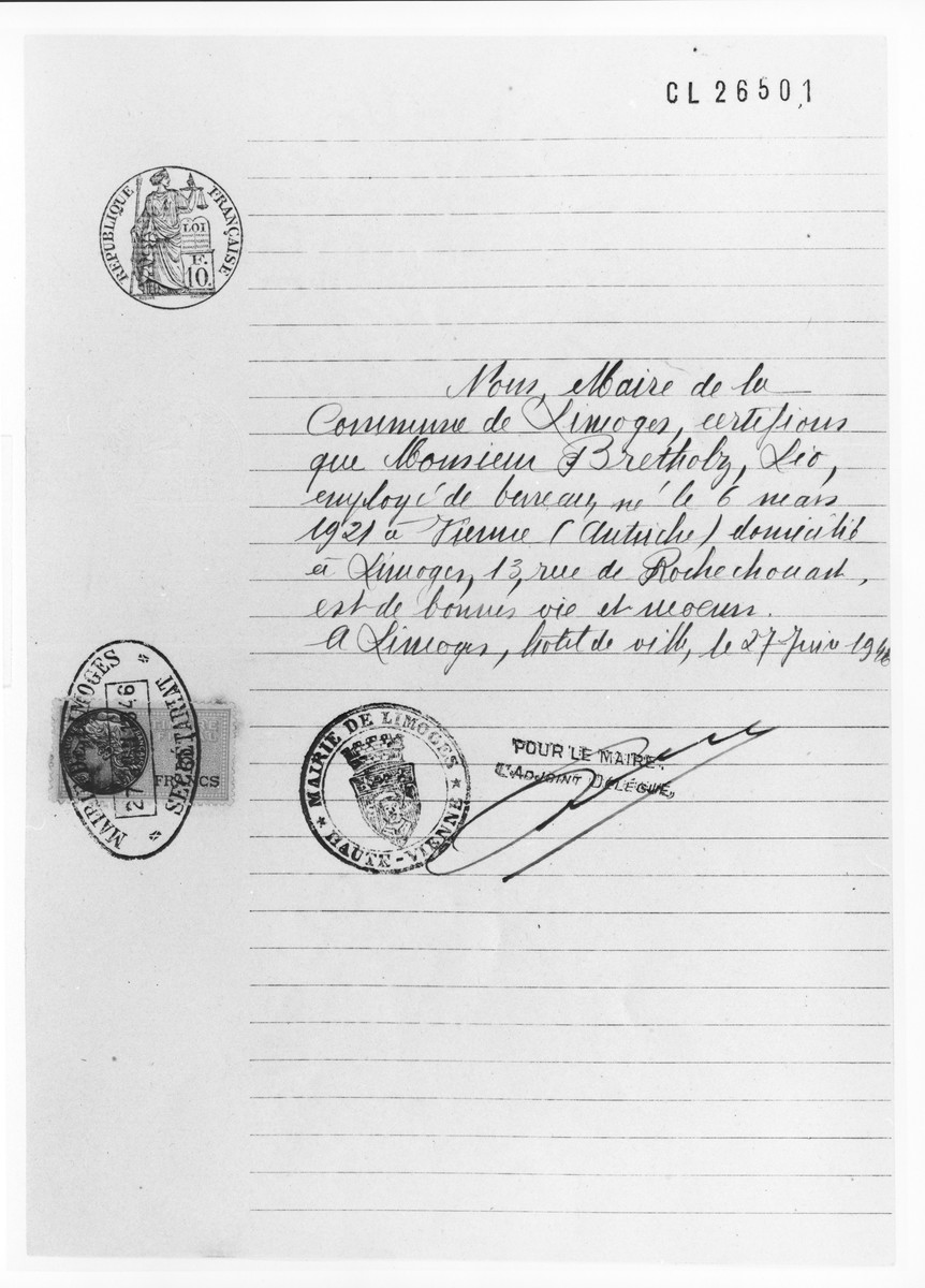 Residency permit for Leo Bretholz signed by the prefect of Haute-Pyrenees.    Austrian-born Leo Bretholz is identified as a Polish Jew since his nationality was determined by his father's birthplace.