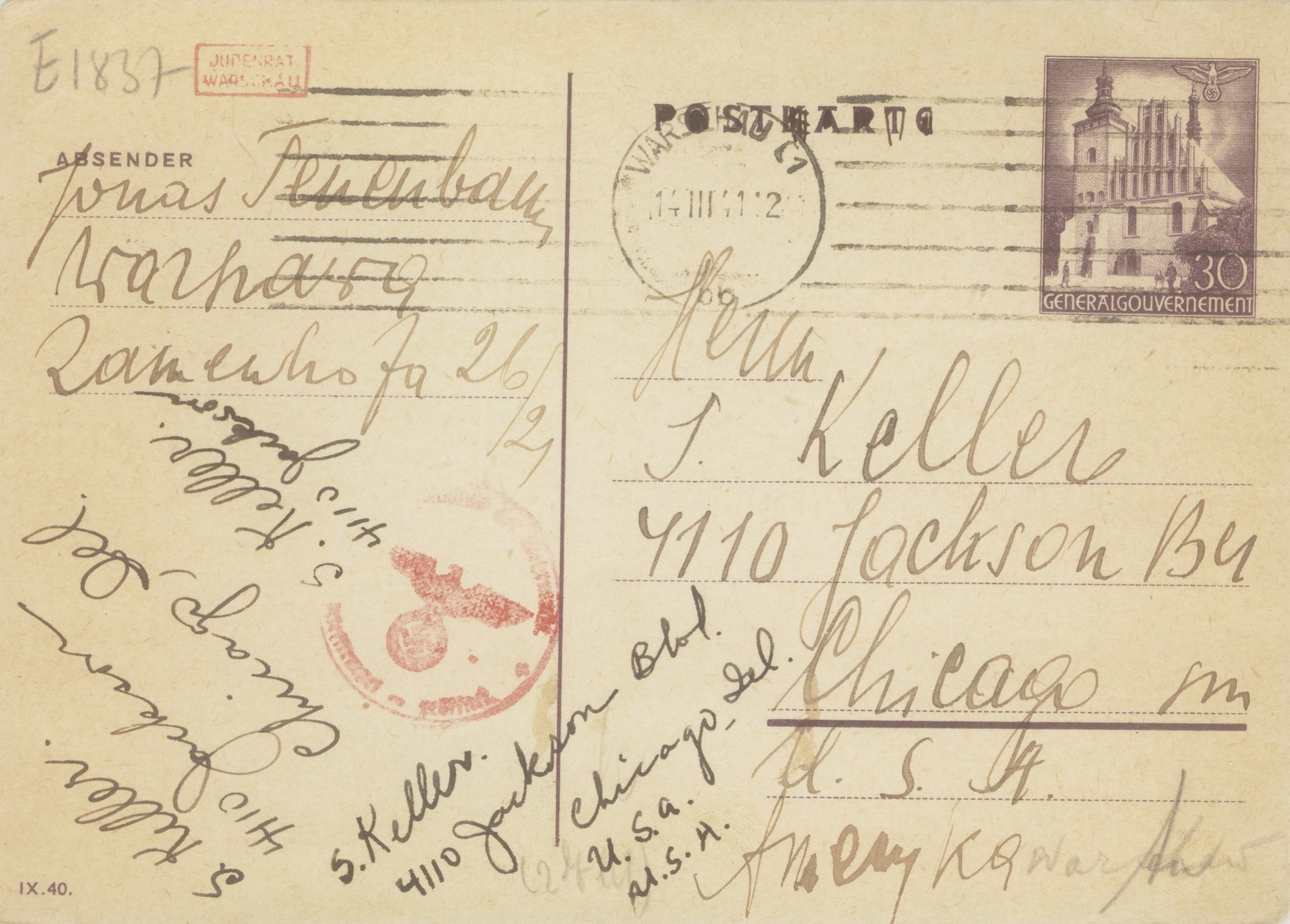 "A postcard sent by Jonas and Anka Leah Tenenbaum in the Warsaw ghetto to Anka's sister and daughter in Chicago.   The Polish text reads: ""To my dear sister, brother-in-law and daughter.  We are healthy but we have no means of support.  Please send bigger food parcels.  Nechama is in Sterdyn, Srulik got married, and we have no income. Please send food for us to survive.  We still have hope, but we are exhausted.  Other people receive money through Overseas Distributors.  Find out about it.  Don't wait to send food.  With love, your father, mother and siblings Tenenbaum."""
