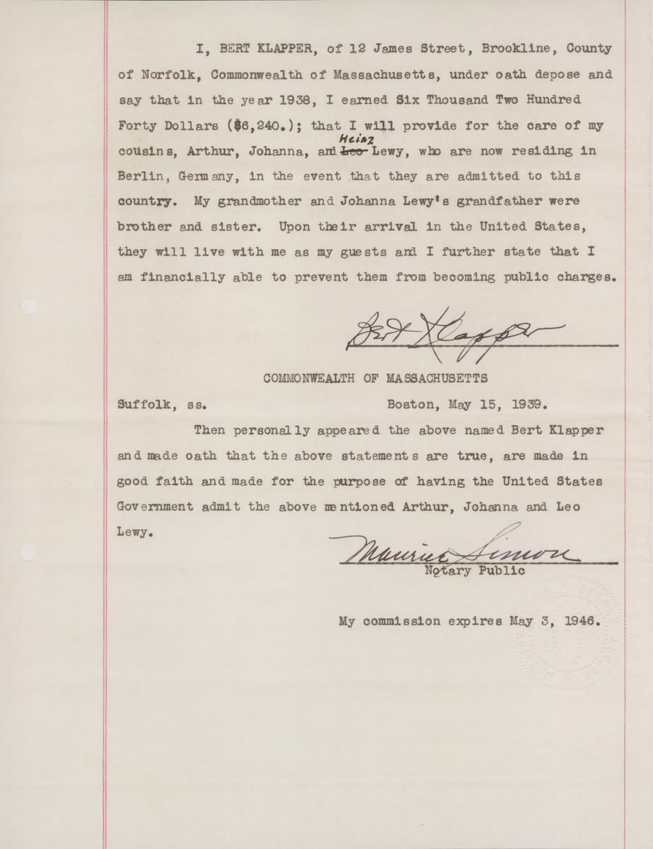 Letter of sponsorship sent by Bert Klapper, to support the application of his cousins Arthur, Johanna and Heinz Lewy for immigration visas to the United States.