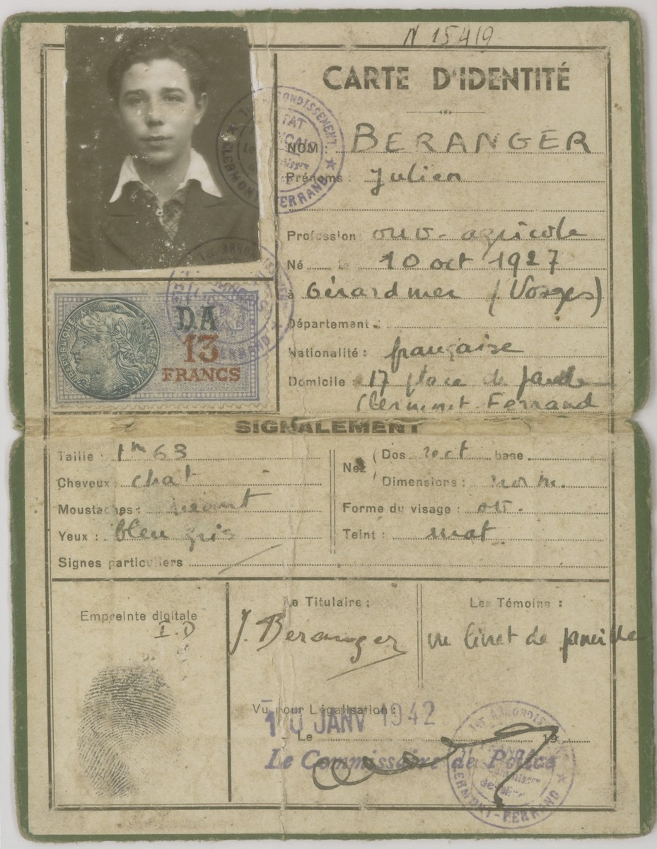 A counterfeit identification document issued to Julien Beranger (Julien Bluschtein) by the OSE (Oeuvre de Secours aux Enfants) in January 1942.  Julien used this document to prove his assumed identity as a French agricultural laborer in Treves.
