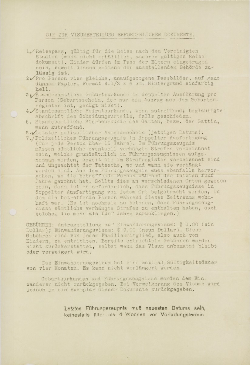 A list of the documents required of those seeking to move to the United States, that was sent to Arthur Lewy by the American Consulate General in Berlin on July 24, 1939.
