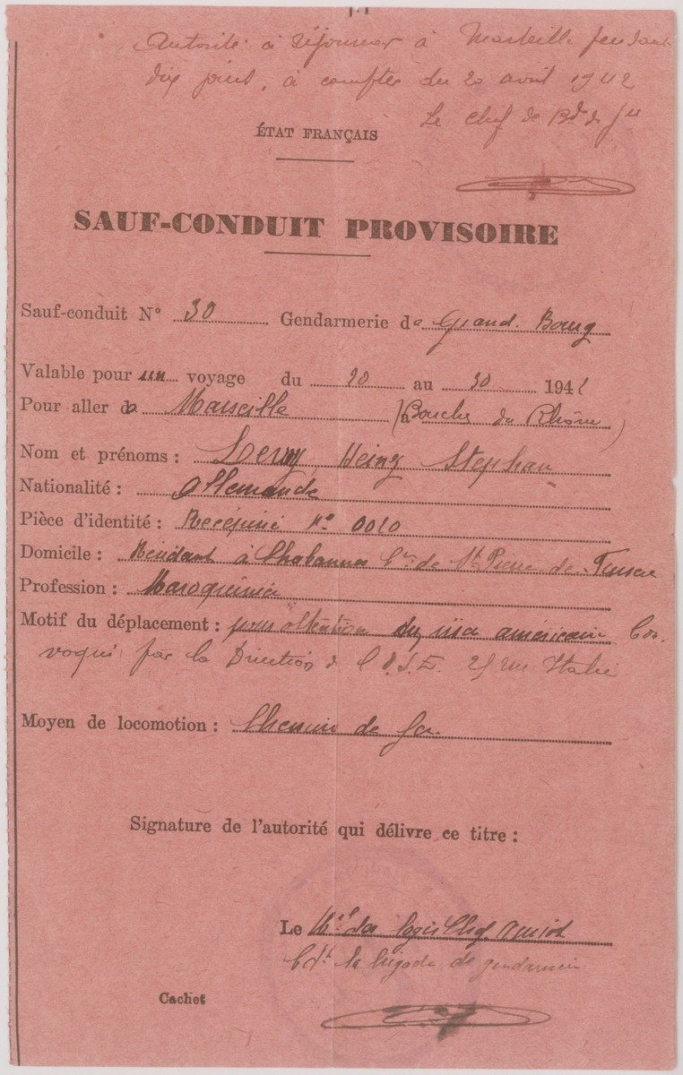 A safe conduct pass issued by the French police, which allowed Heinz Stephan Lewy to travel from La Chabanne to Marseilles in order to pick up his American visa.