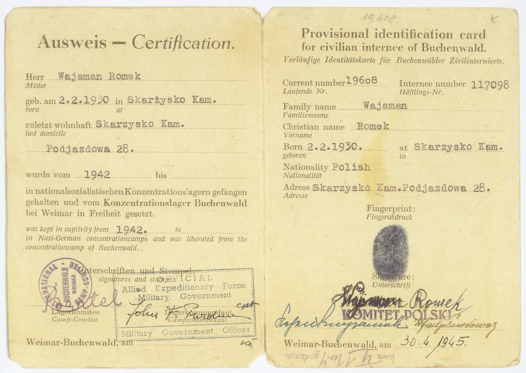 A provisional identification document issued to Buchenwald survivor Romek Wajsman by the International Camp Committee in Buchenwald on April 30, 1945.