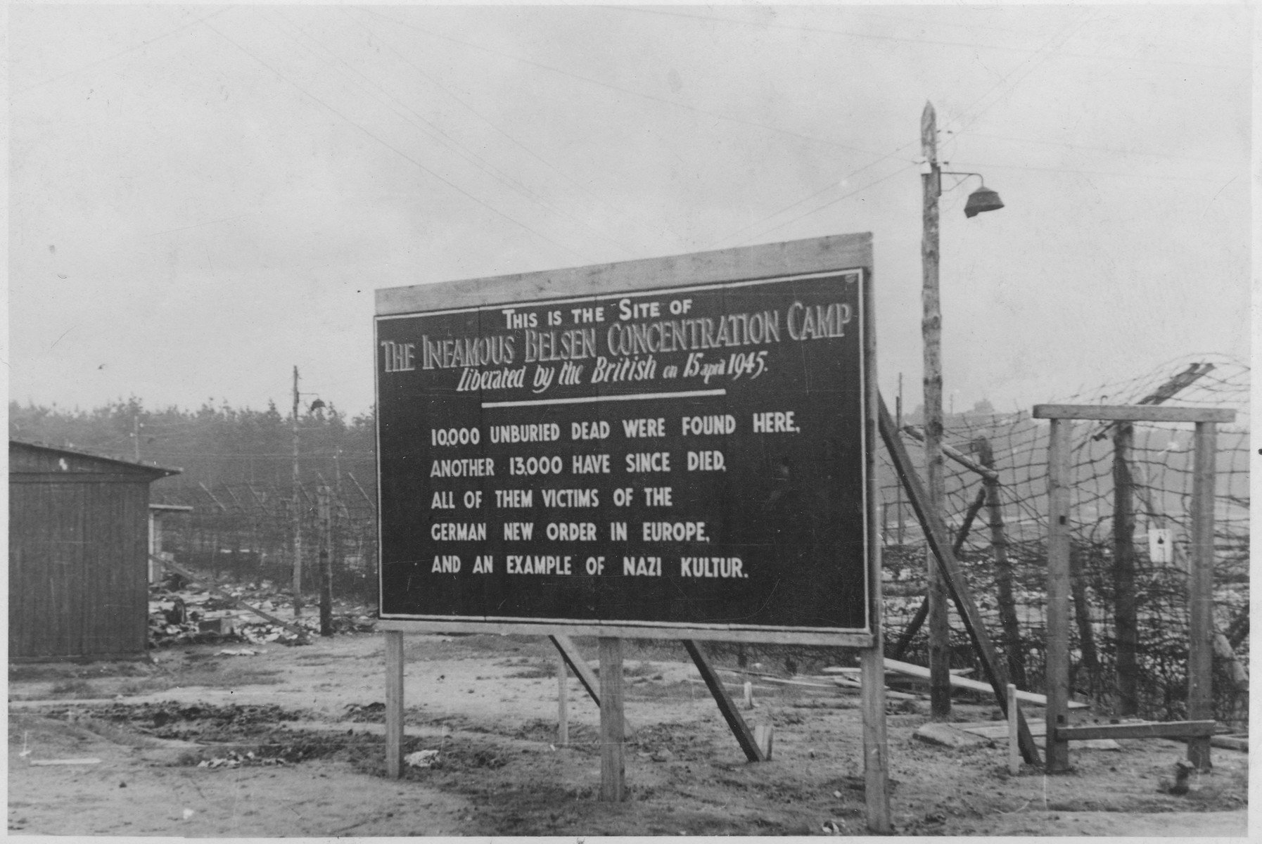A sign posted by the British army at the entrance to the Bergen-Belsen concentration camp.