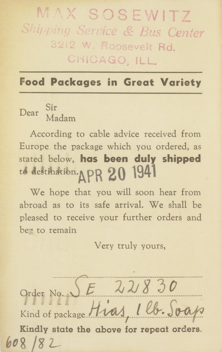 A notice sent by the Max Sosewitz shipping service to Estera Tenenbaum, notifying her that a food package has been sent to her family in the Warsaw ghetto.