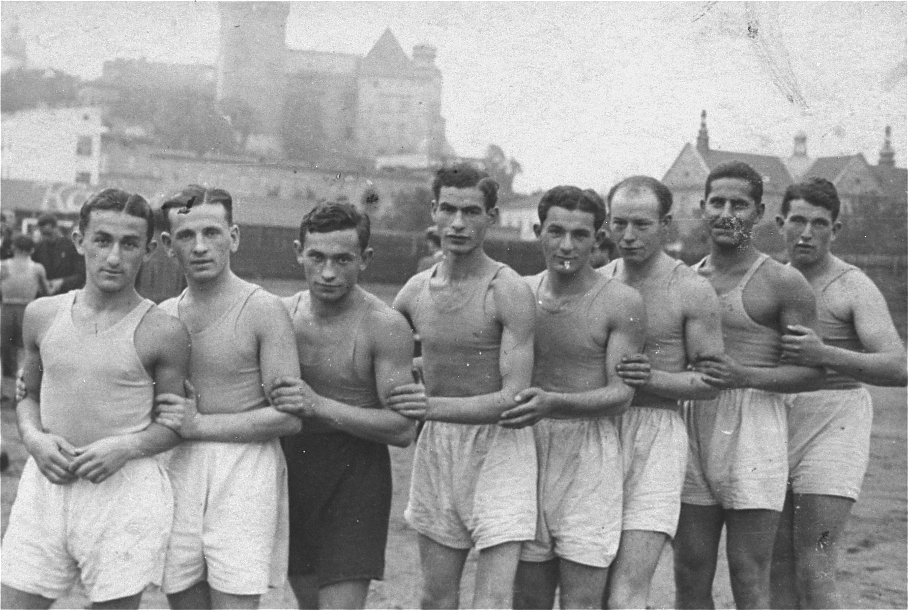 Group portrait of members of the Maccabi boxing team in Krakow.  Among those pictured here is the donor, Fred Eichner (fourth from the right).