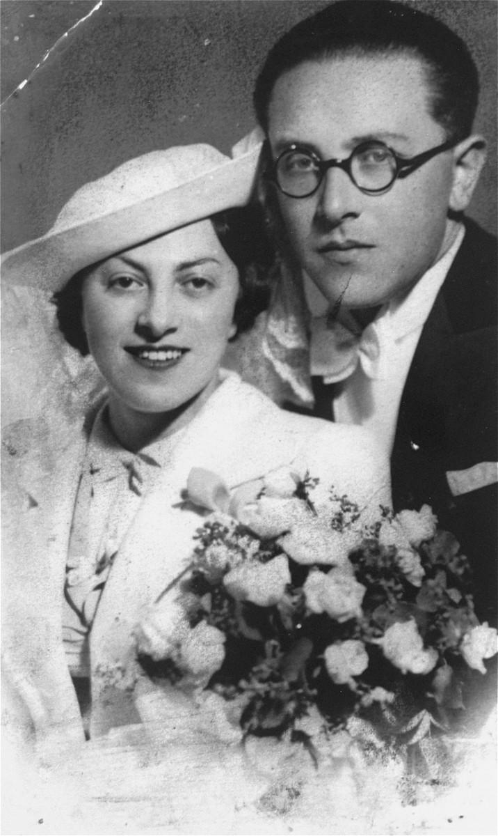 Wedding portrait of Nethanela Weisberg and Reuben Schwartzwald.  Both perished in the Holocaust.