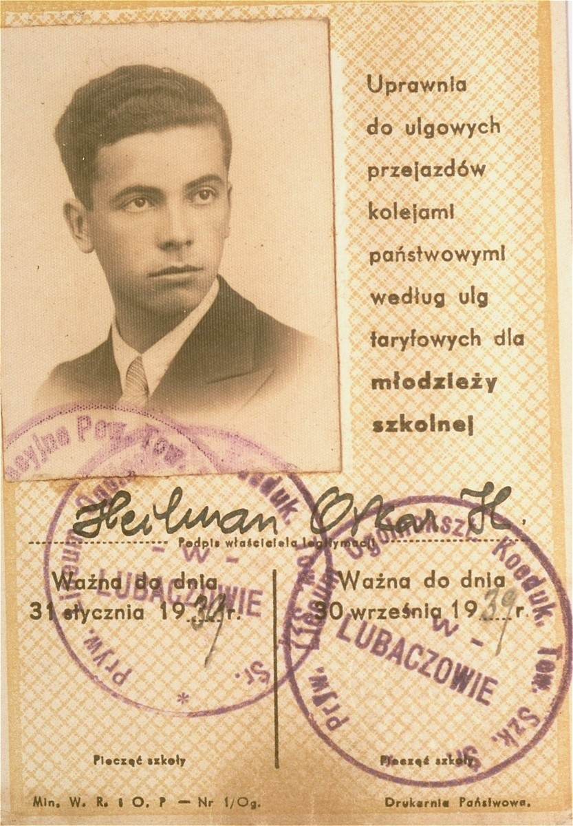 A high school identification card issued to Oskar Henryk Heilman.  Joshua Heilman, known as well as Oskar Henryk, left for Palestine on August 22, 1939.  He studied at the Hebrew University in Jerusalem and in 1942 enlisted in the British army.