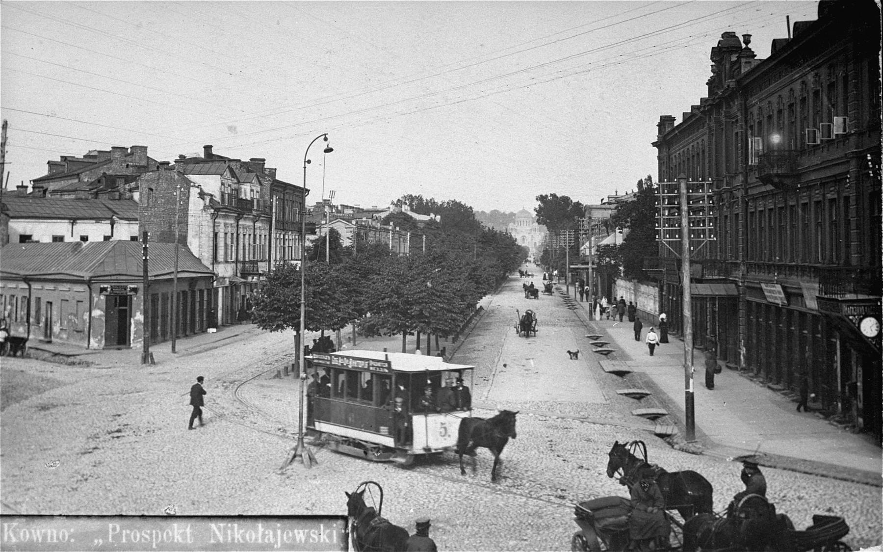 View of a street scene in Kovno.