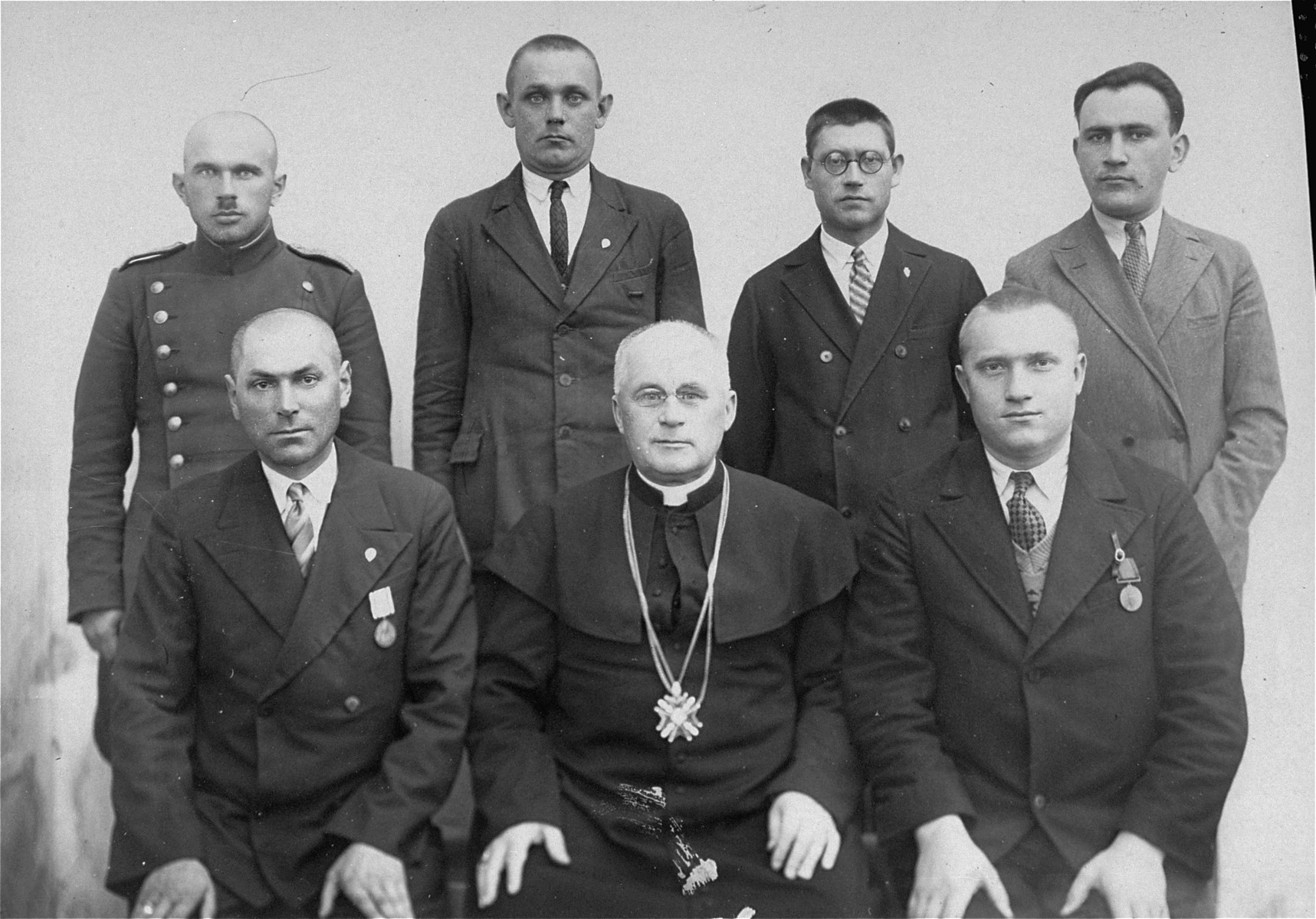 Group portrait of participants at a conference in Kovno.  Pictured (standing at the right) is the donor's uncle, Joseph Gar, a teacher in the Jewish Volksschule (elementary school) in Utena.