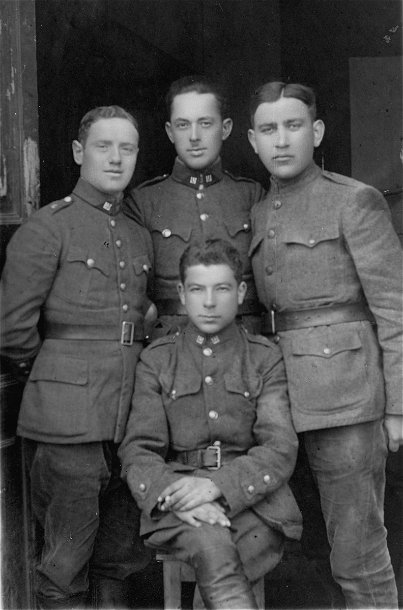 Group portrait of soldiers in the Lithuanian Army. Pictured on the right is Jacob Gar, the donor's uncle.