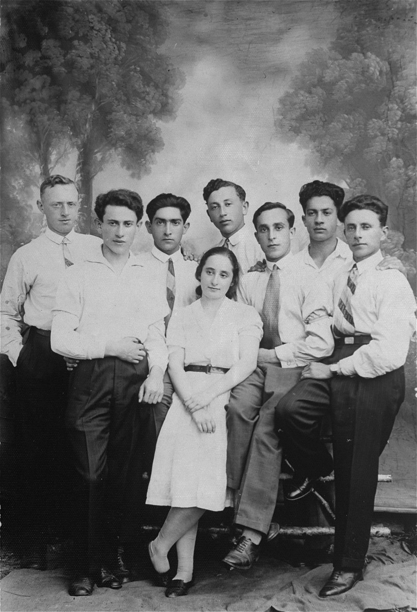 Group portrait of Zionist youth, who were friends of the donor's father in Lithuania.