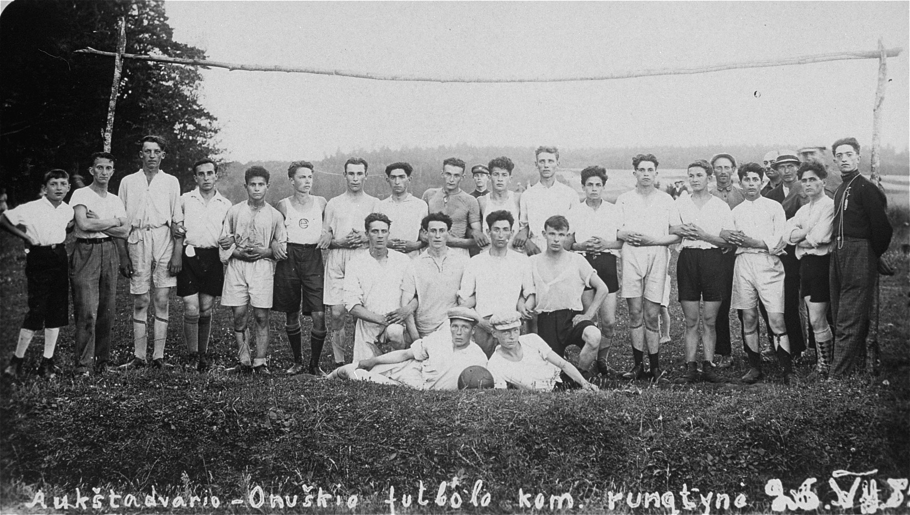 Group portrait of the Maccabi Soccer team in Lithuania. Eliezer Kaplan is pictured at the far right.