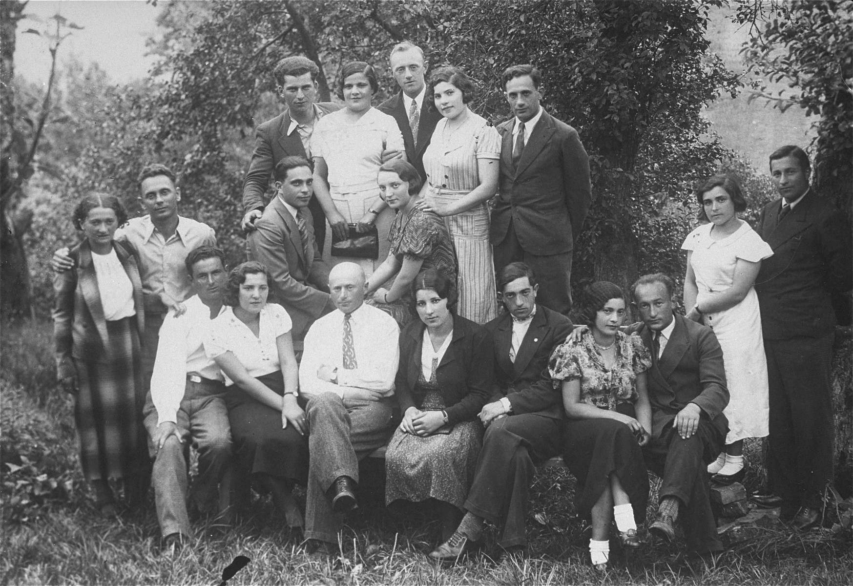 Group portrait of young Jewish men and women involved in the Zionist movement in Lithuania.  Eliezer Kaplan is pictured sitting in the front row, third from the right.