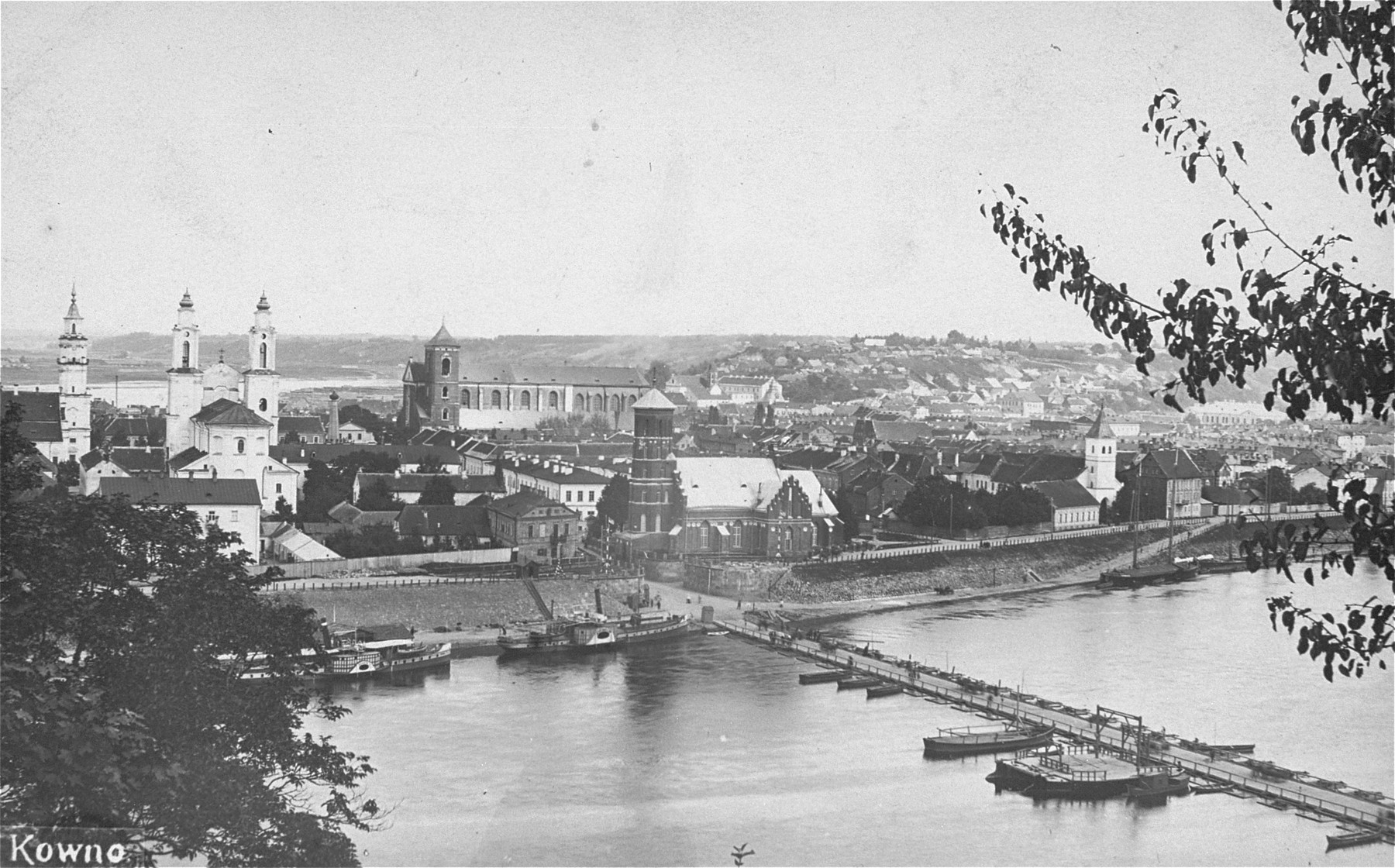 View of the city of Kaunas taken from across the river.
