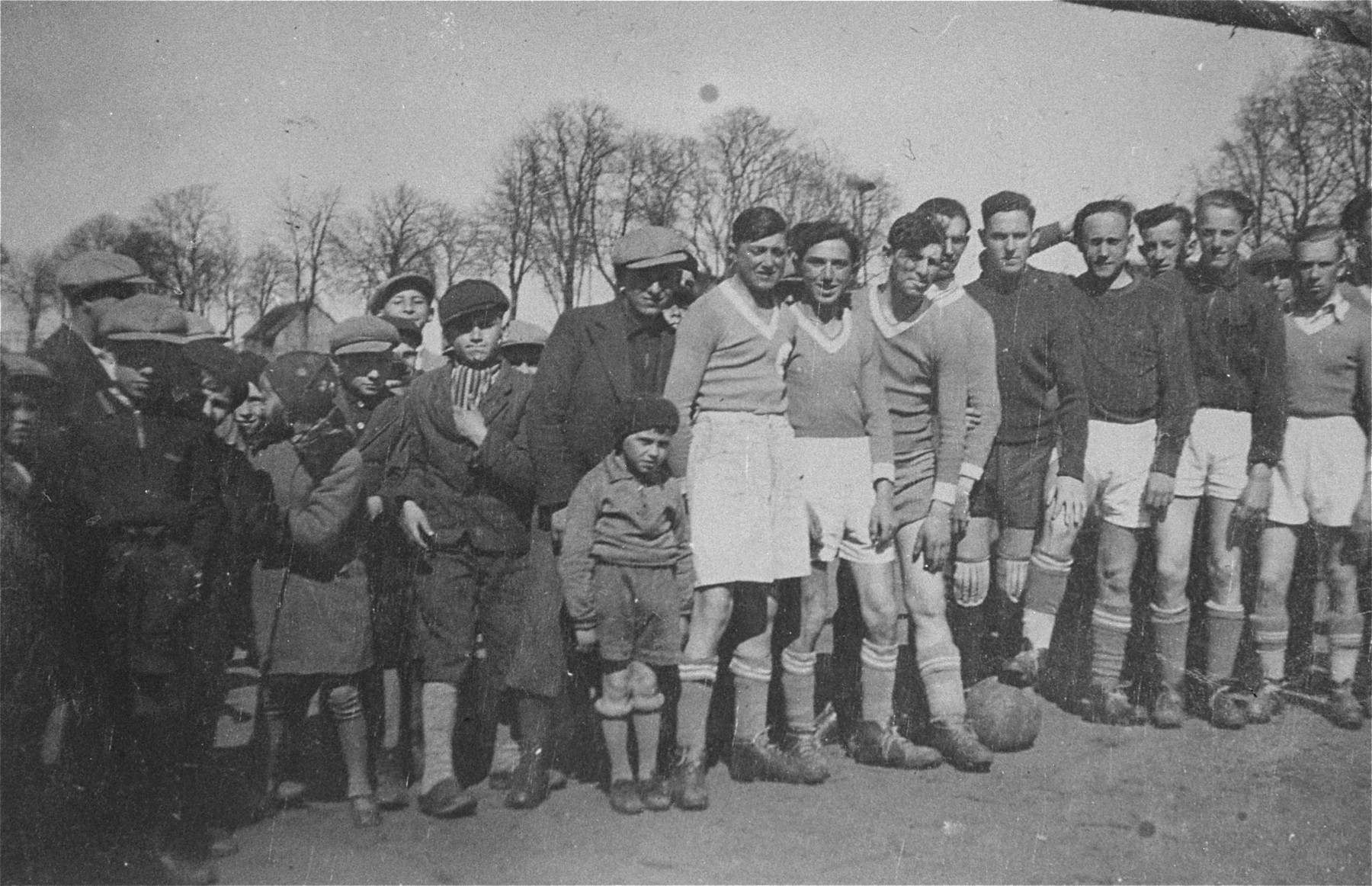 Members of a Jewish soccer team pose with family and friends in Gargzdai, Lithuania.