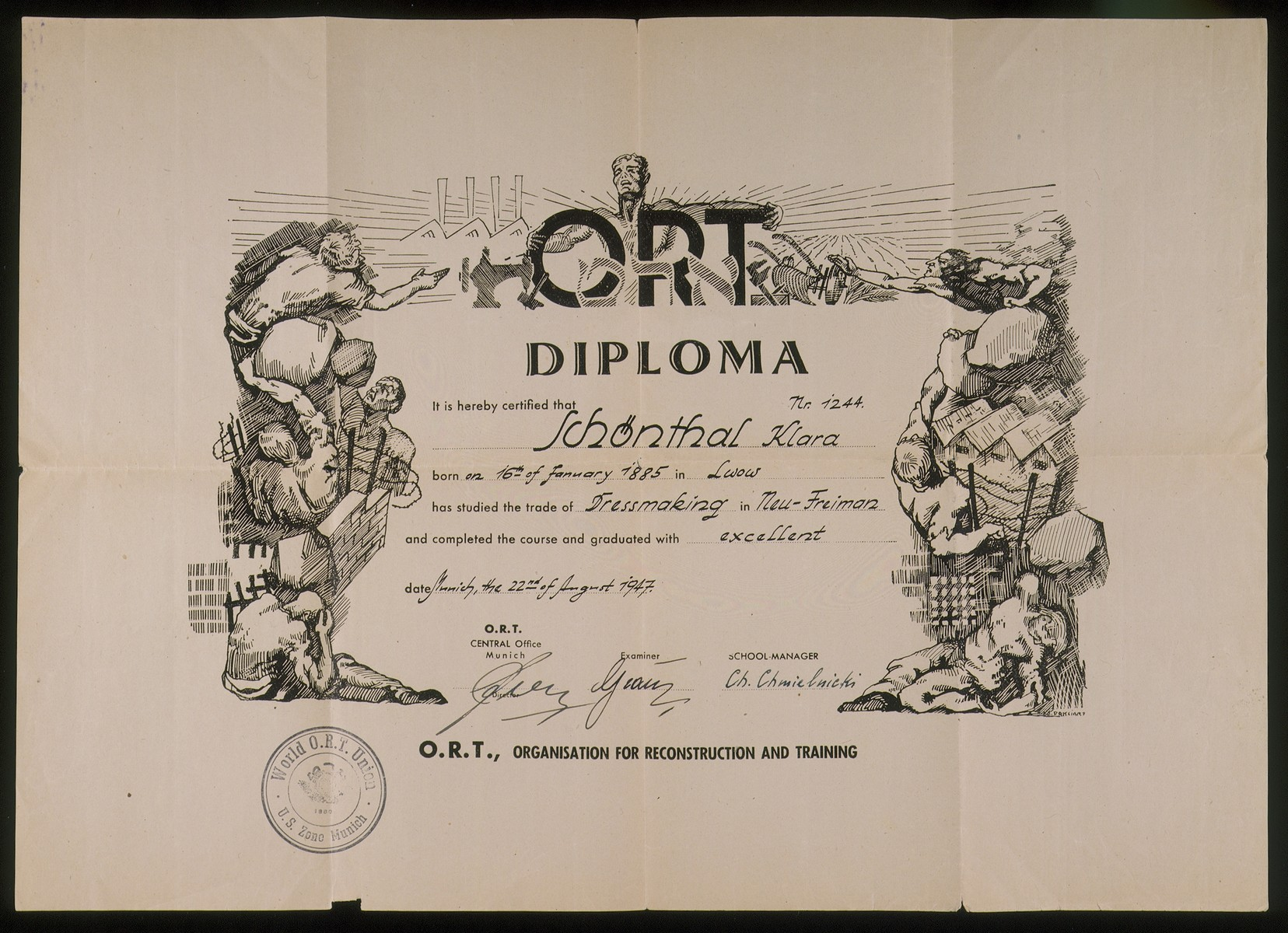 ORT (Organisation for Reconstruction and Training) certificate issued to Jewish DP Klara Schoenthal for completing a dressmaking course in the Neu Freimann displaced persons camp.