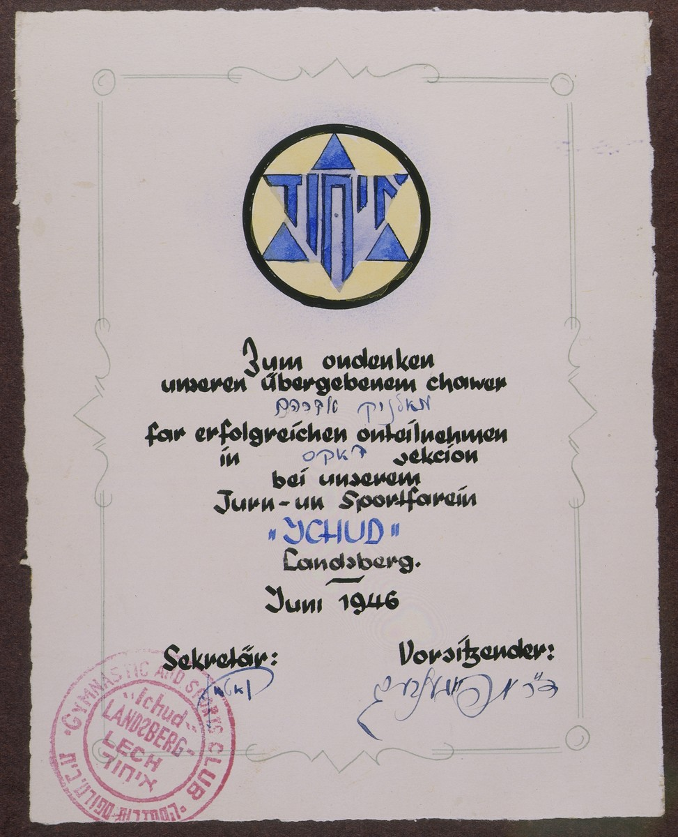 Certificate issued to Abraham Malnik by the Ichud sports club in the Landsberg displaced persons camp in June, 1946.