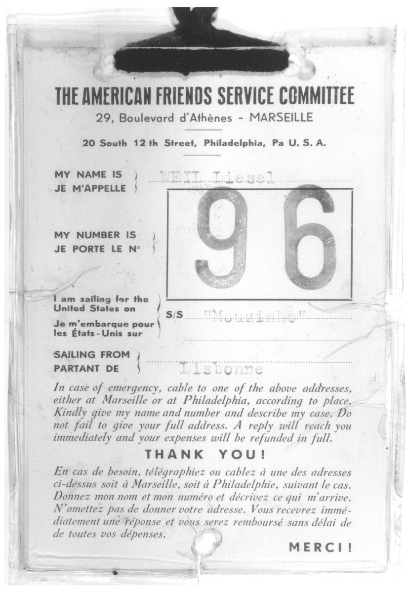 Identification tag issued to Liesel Weil by the American Friends Service Committee for her voyage to the United States on board the Mouzinho.