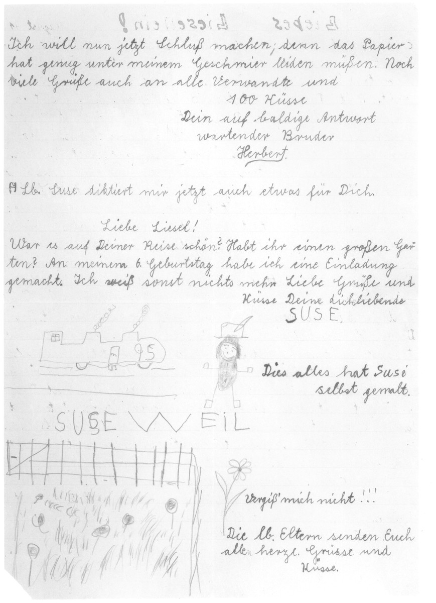 Last letter sent by Herbert and Suse Weil to their sister Liesel in America.  In the letter Herbert describes the Jewish school in Nuremberg and how the class has shrunk to forty students.