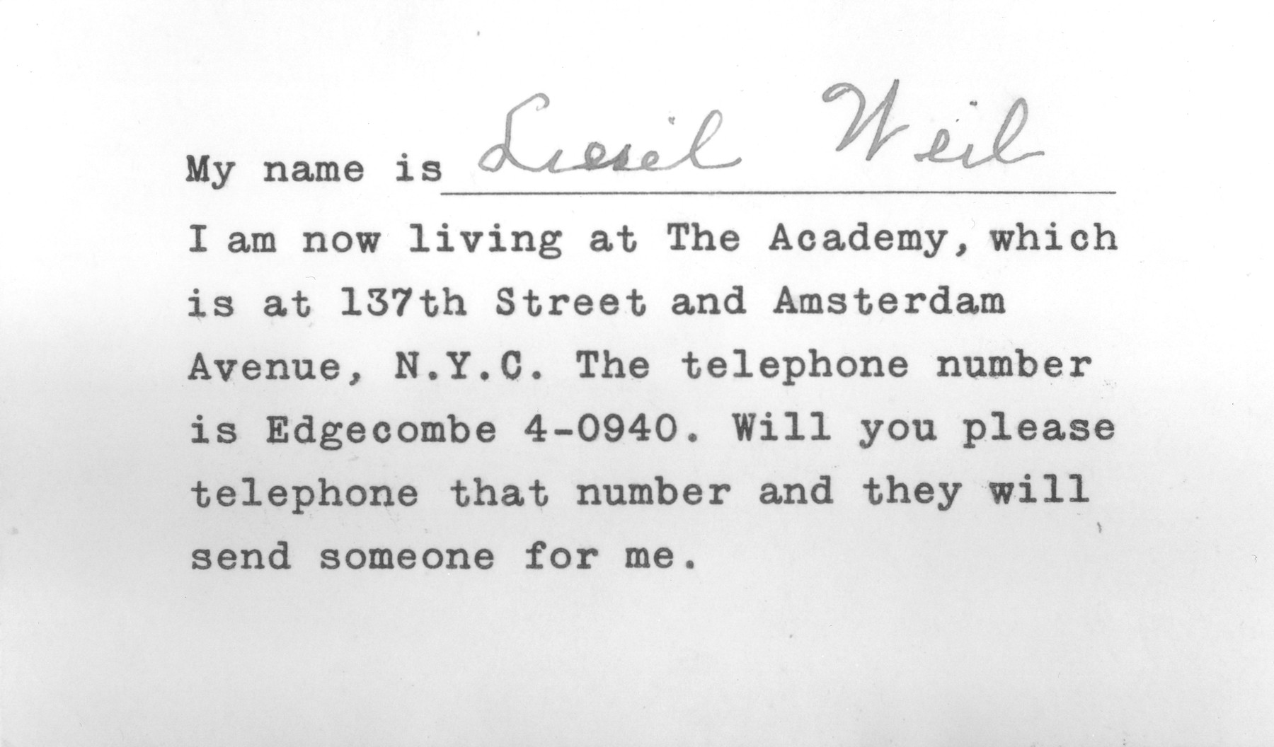 Identification tag issued to Liesel Weil upon her arrival in New York with her address and phone number in case she got lost.