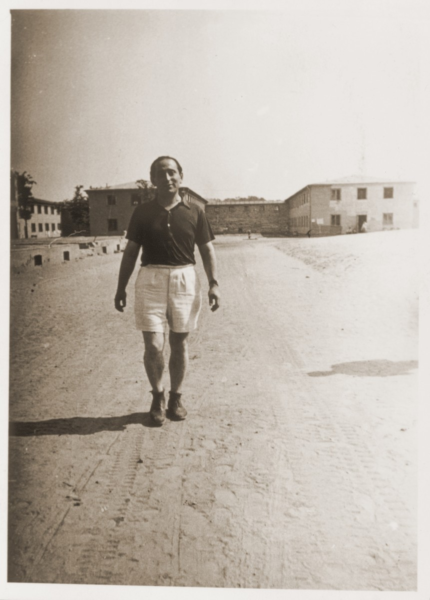 Miles Lerman walks along a road in the Schlachtensee displaced persons camp.