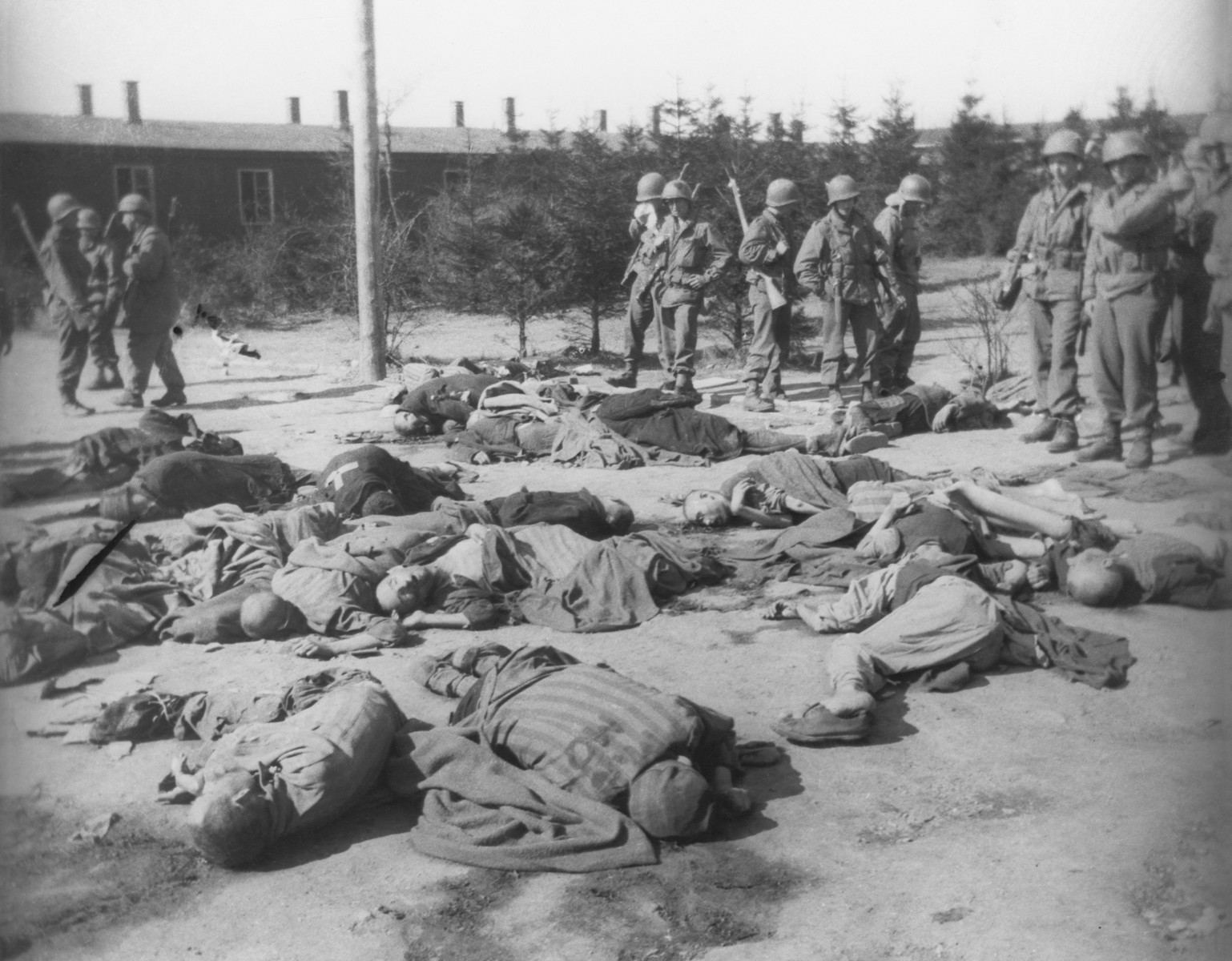 US soldiers confront the corpses of prisoners killed in Ohrdruf shortly before the camp's liberation.