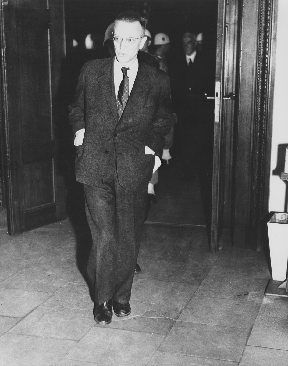 Arthur Seyss-Inquart enters the courtroom prior to his sentencing for war crimes.
