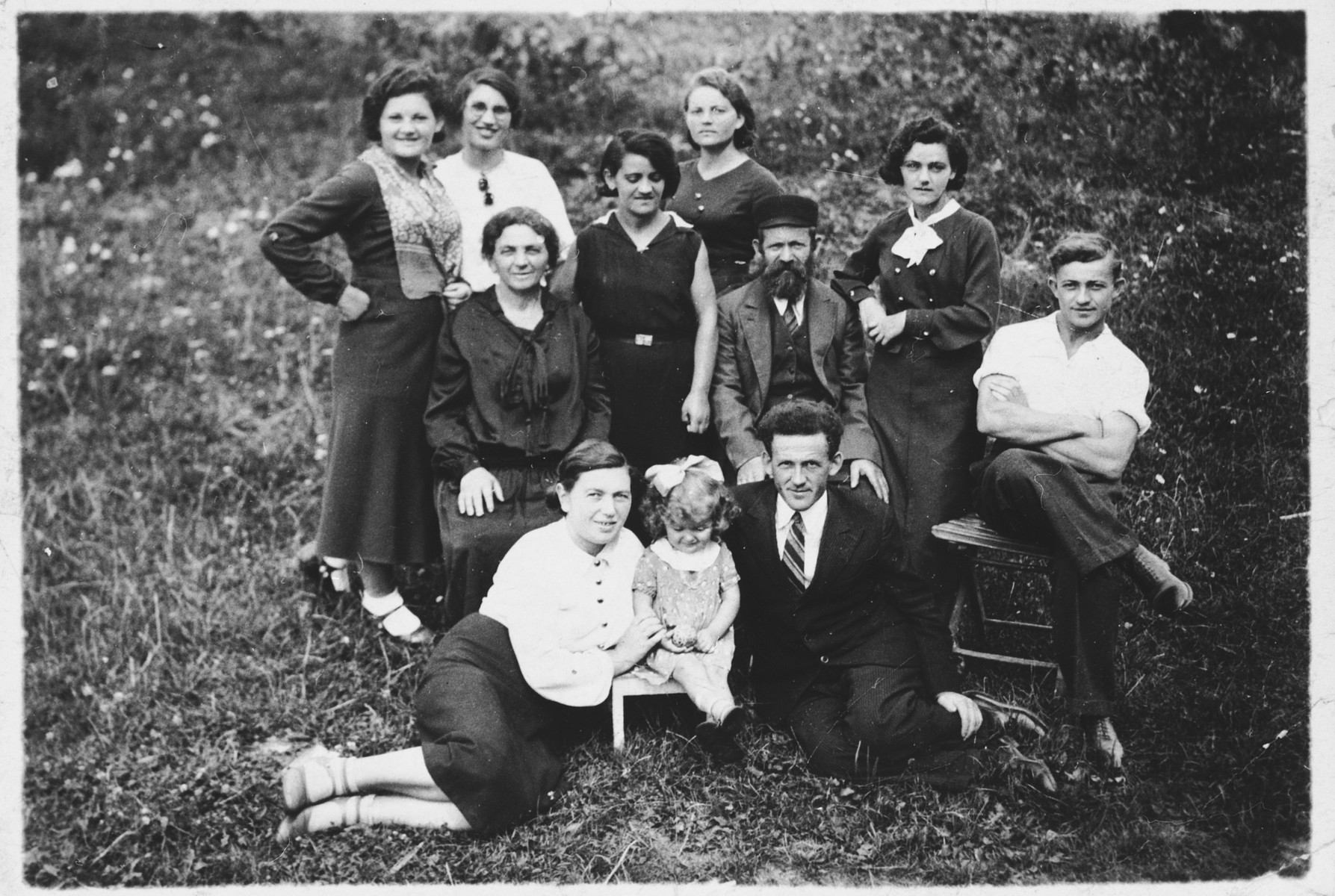 Portrait of the extended Rajs family.  Lila is sitting in the center.  Her cousin Abeshet is on the far right.  A devoted Communist, he fled to the Soviet Union where he was killed.