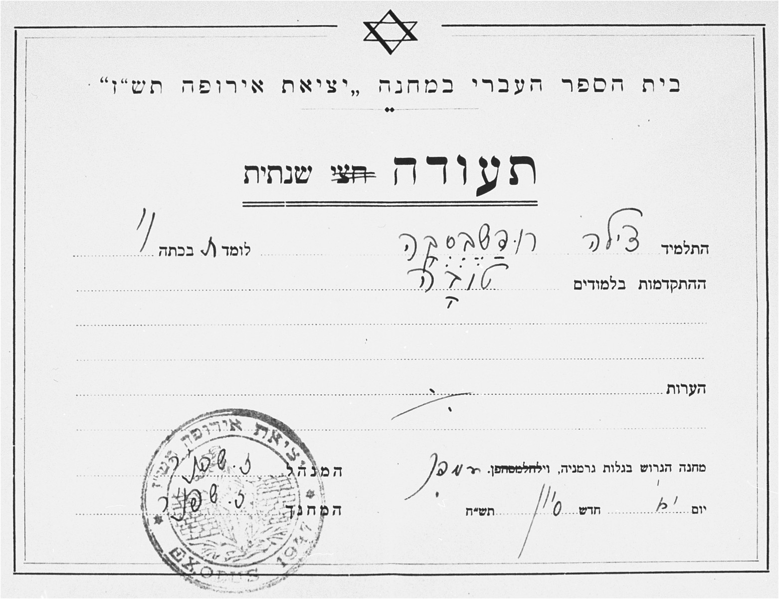 Report card issued to Cilia Rudashevsky by the Hebrew school in the Poppendorf displaced persons camp.