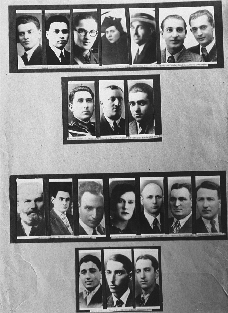 A series of photographs of Jews killed during the Iasi pogrom.  Among those pictured here is: Albert Caufman (top left), Heiner Caufman (to the right of Albert), Herscu Caufman (to the right of Heiner), Iancu F. Moisa (second row, below Herscu), Pincu-Paul Mayer (second row, middle), Lazar Lica Mayer (second row, right), Carolina Sanilovici (top row, next to Herscu), Osias Sanilovici (top row, second to the right), the Laudes brothers, Wainstock and Saul, (top row, right. Wainstack is to the left and Saul is to the right of their photo), Michael Manas (third row, left), Avram Manas (to the right of Michael), Simon Manas (to the right of Avram), Leiche Weisselberg (to the right of Simon), Samuel Brucar Smil (to the right of Leiche), Marcu Iancovici (to the right of Samuel), and Leib Leizar Gutman (to the right of Marcu).