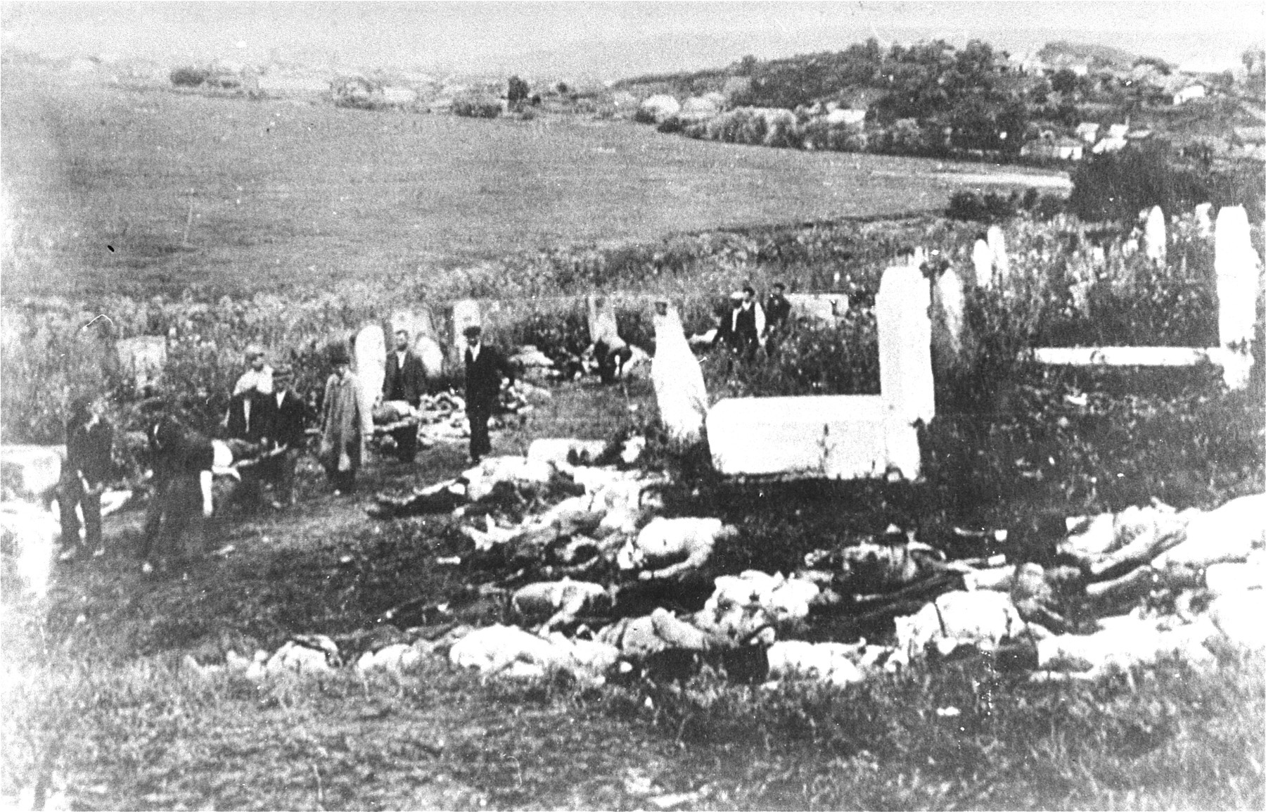 Romanian civilians transport the corpses of Jews removed from the Iasi death train to a local cemetery for burial.