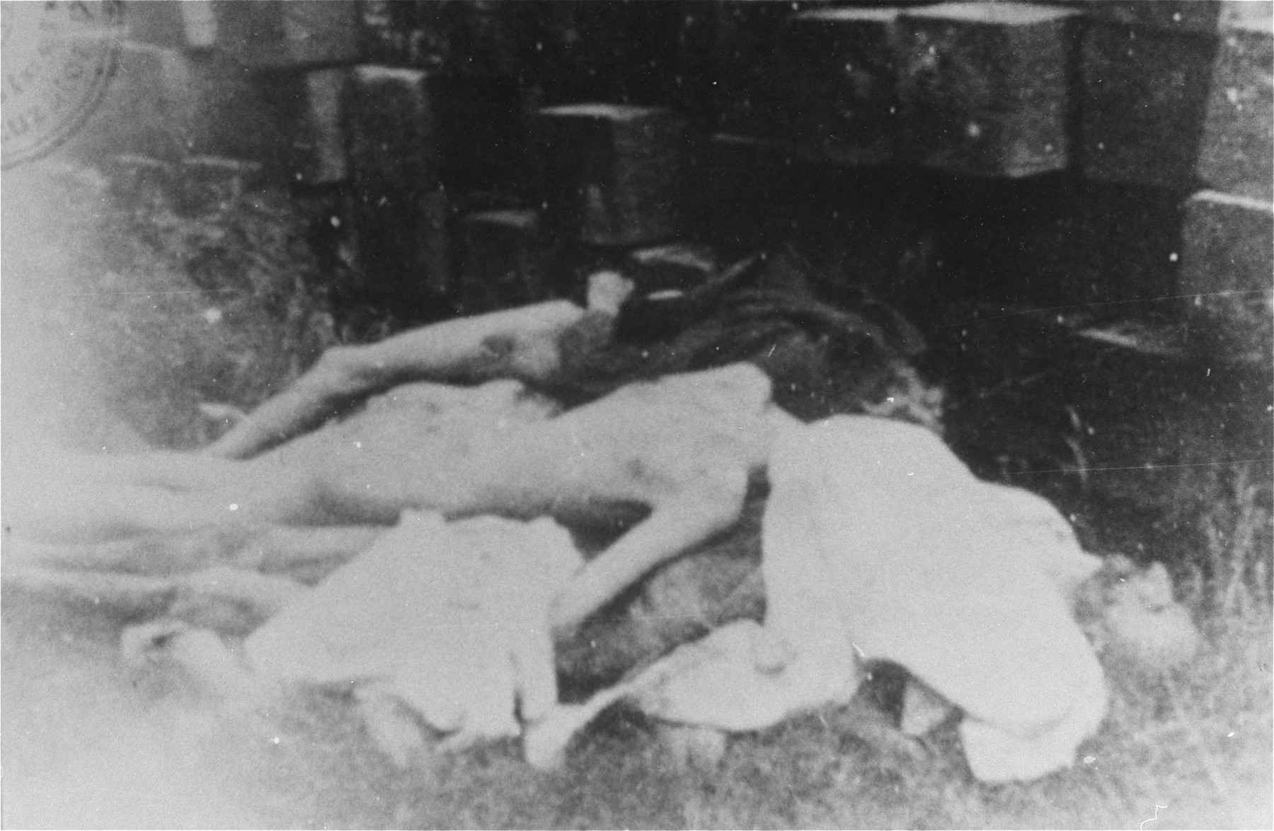 The bodies of Romanian Jews who died on one of two death trains that left Iasi on June 30, 1941.  The first train was bound for Calarasi and the second for Podul Iloaiei.  This specific picture was taken at Sabaoani.