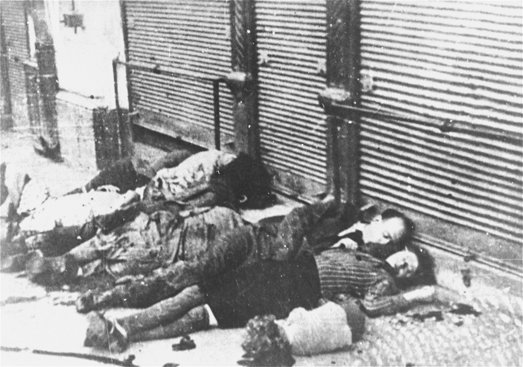 The bodies of a Jewish family killed on Vasile Conta Street in front of the Fratii Hirschenschon store during the Iasi pogrom.   On June 30, 1941, around 1:30 PM, some eighteen bodies were brought [from the building where the Adace pharmacy is situated]...among them the Kunovicis, who owned the milliner's shop on Stefan cel Mare Street; Simion Filip, the baker on I.C Bratianu Street; Nacht, the engineer from the Adace building; and the former bar owner Mille. Pictured here is one of the 180 children murdered in the progrom.