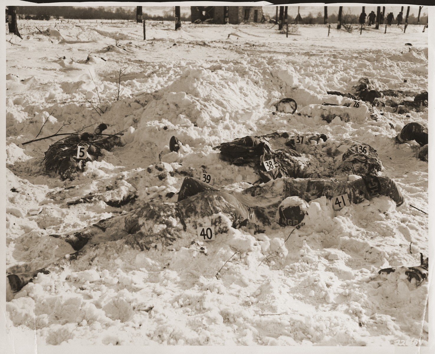 "The corpses of American soldiers killed by the SS in the Malmedy atrocity.  The original caption reads ""Bodies of American soldiers lie scattered here on the snowy terrain near Malmedy, Belgium, the victimns of German atoricities, committed on or about 17 December 1944."""