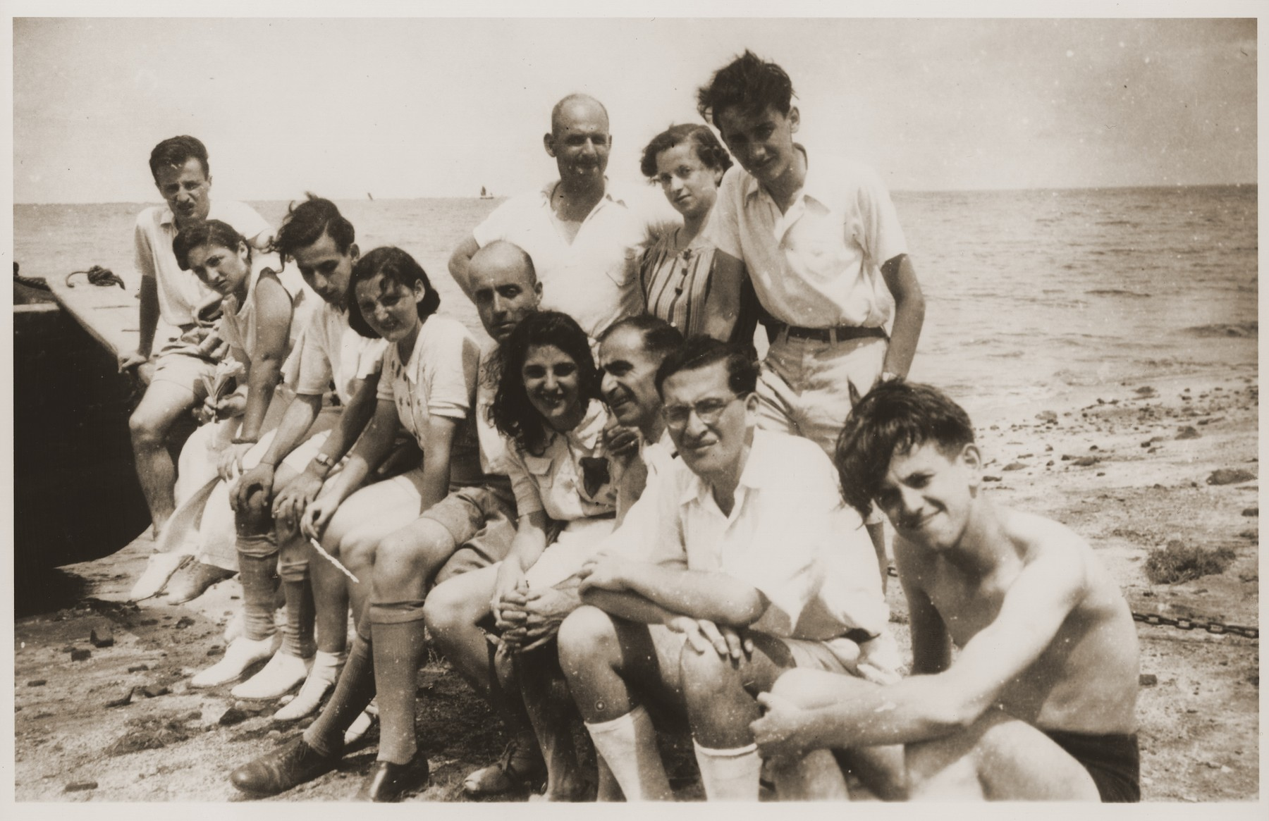 Jewish refugee youth on an excursion to Koochow.  Among those pictured is Eric Goldstaub (left).