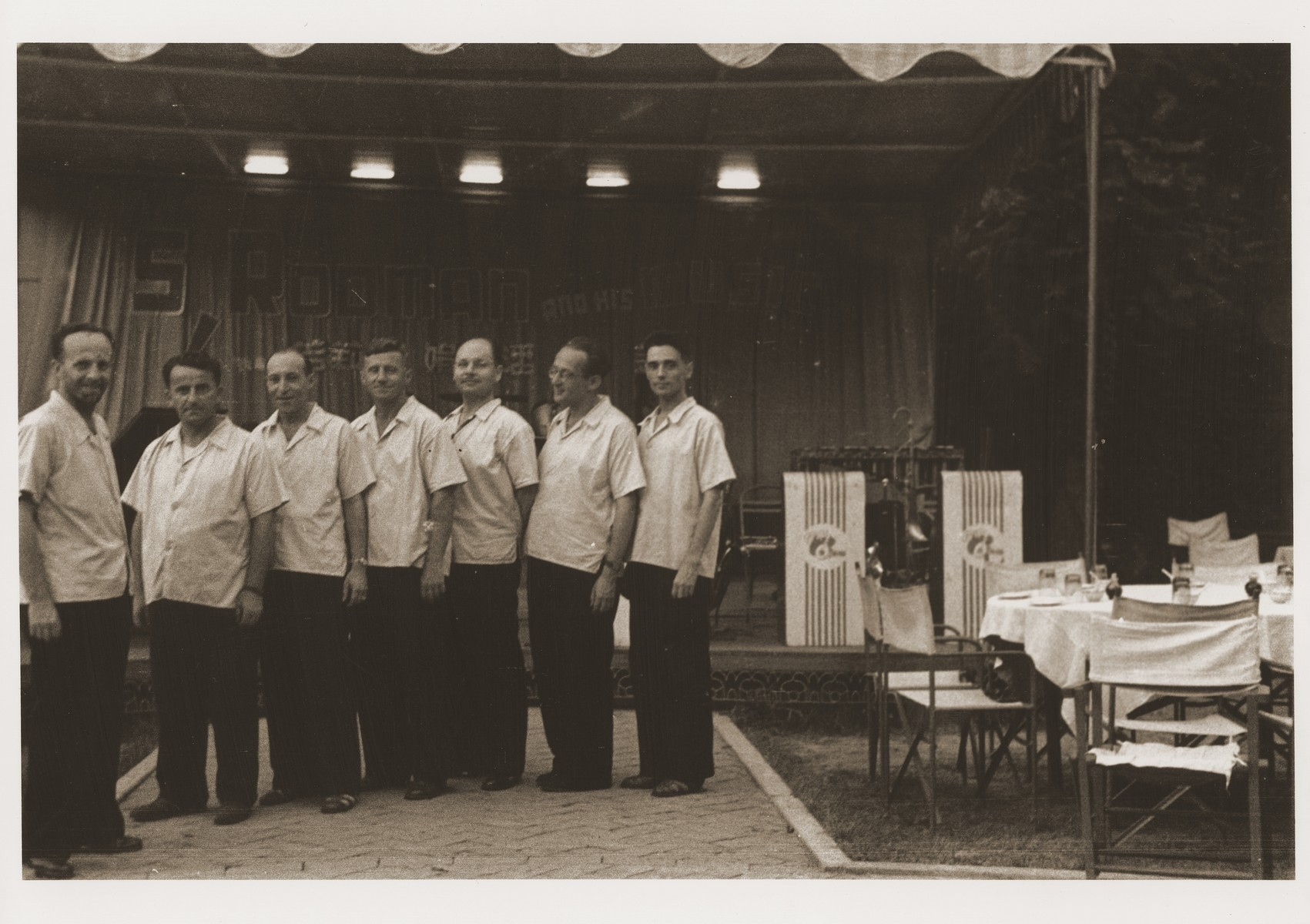 Members of the Siegmund Rodman band at the Roof Garden restaurant on Ward Road in Shanghai.  The Roof Garden was a favorite cafe for Jewish refugees in Shanghai.