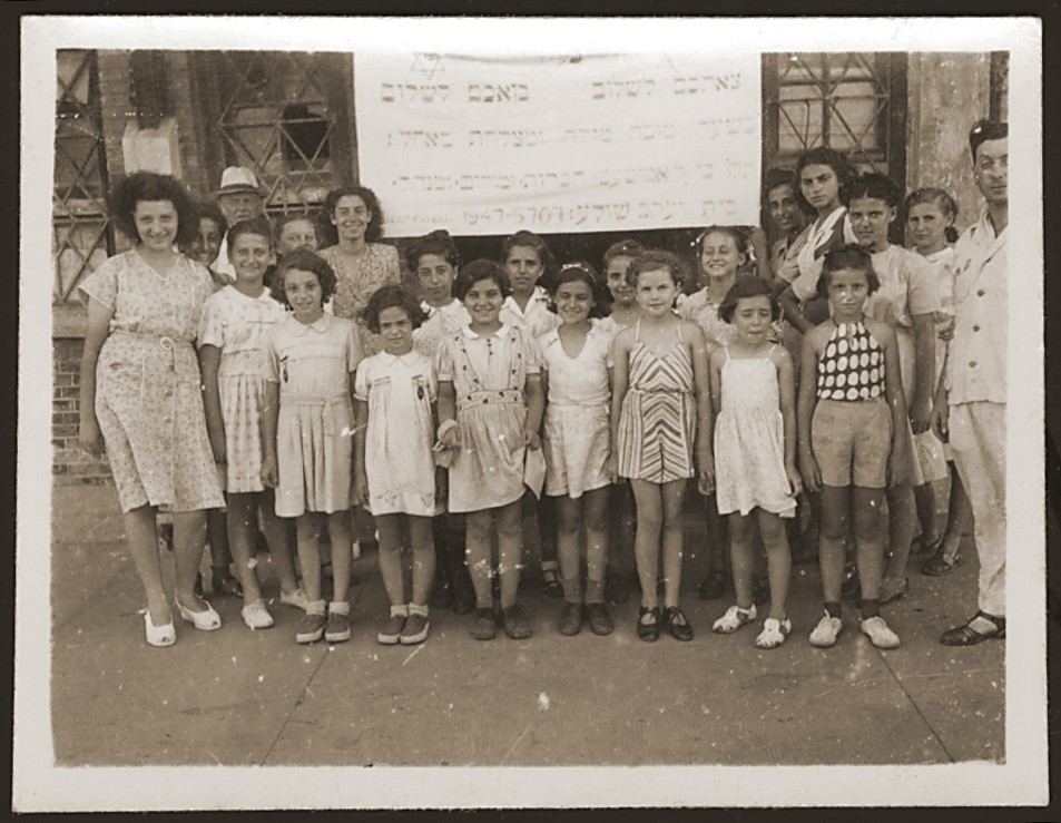 Students and teachers from the Shanghai Beit Yaakov, religious girls' school.  Among those pictured are Gerta Wolf, Helga Elsner, Ruth Weil and her sister, Erica Kestin, Gerda Elsner, Rachel Bracha, Sima Bracha and Edith Wickelholz.