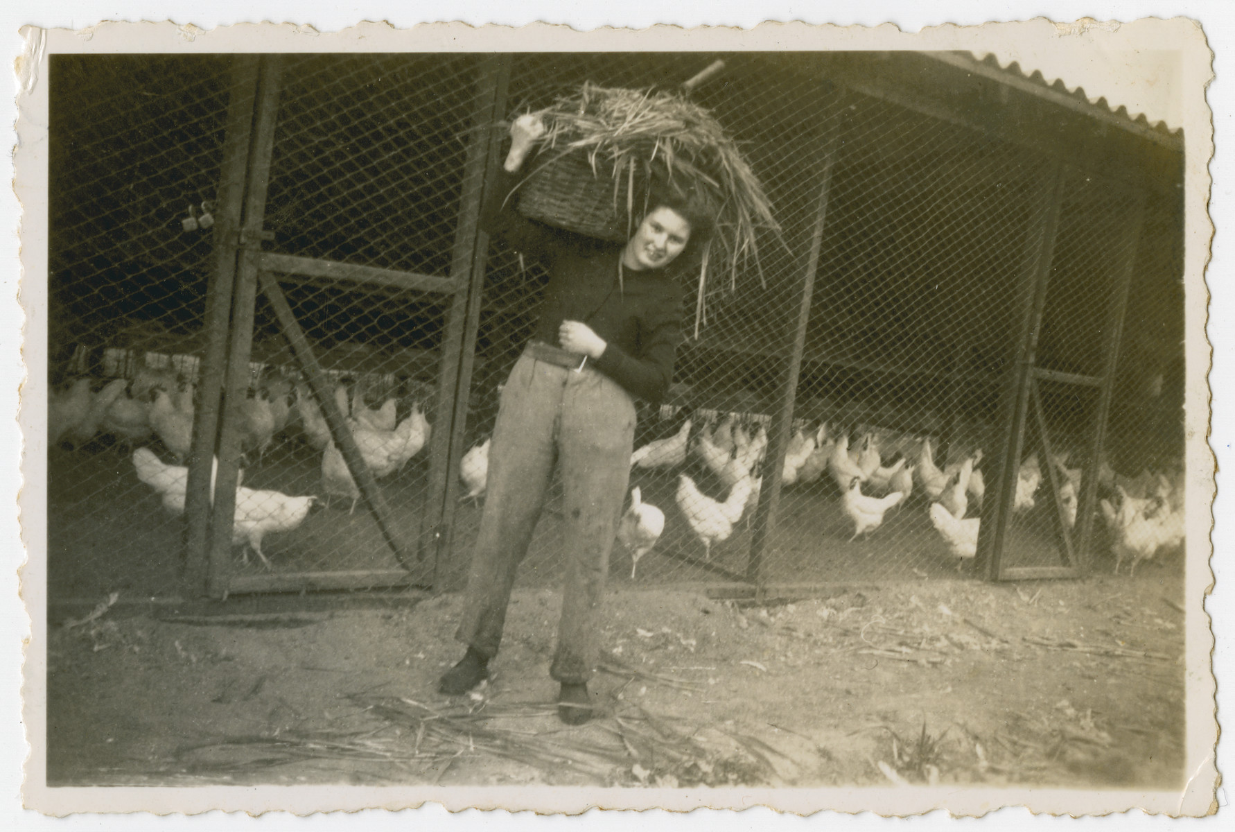 "Photograph from an album entitled, ""Hacshara Kidma Chile,""  documenting life on a postwar Shomer Hatzair Zionist agricultural collective in Chile.  A young woman tends to the chickens.  The inscription on the album page reads, ""My visitor."""