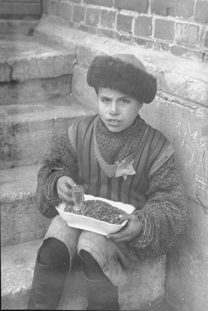 "A young boy sitting on stairs outside, selling sunflower seeds.  According to Solly Ganor: ""The boy in the fur hat was called ""Aldona"". I remember him because he always used to sing a Lithuanian love song called ""Aldona"". His parents had perished in the beginning of the war and he lived with his aunt, who worked in town. She would smuggle into the ghetto sunflower seeds and ""Aldona"" would sell them at the ghetto square. I heard that he was killed while trying to hide in a cellar while the ghetto was evacuated in July 1944. """