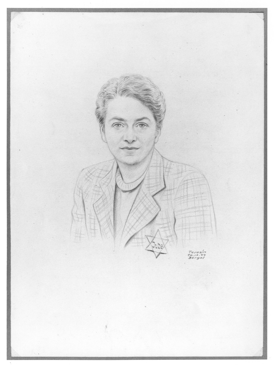 "Portrait of Marie Kleinova signed by Alfred Bergel on September 10, 1944.   Caption translation: ""This woman lived in Terezin for the three years under the mark Aul-813. Until May 15, 1942 her name was Marie Kleinove. After the war, she and her sister Rudolfa changed their names to Klanova since they did not have a German name. Marie was born on December 3, 1907 as the last child of her father Leopold Klein and her mother Bedriska (Dubska). Since the time she was 15, Marie worked in an office. In her free time she read a lot; she always loved nature above anything else. Since it happened that Marie and Ruda, rather than Erna and Veruska, survived Hitler's reign of terror, it was well that they saved Erna's drawings and diaries and ... notebooks from ... niece Vera Segerova (Frantiska's daughter). The fate prevailed over our wishes. The picture was drawn by a Professor from Vienna.  Used in the DOR pamphlet  ""Fifty Years Ago:  Darkness Before Dawn"" (1994)."