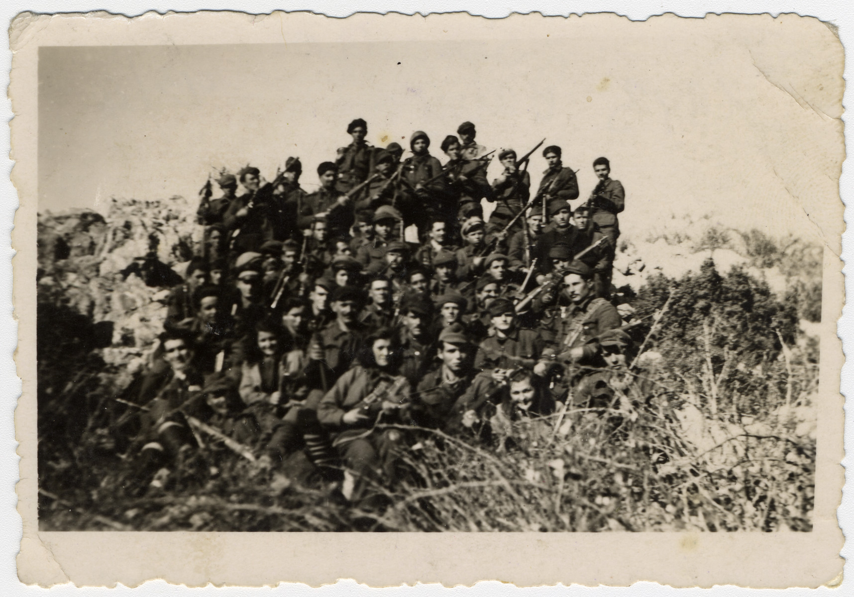 Partisans of the First Macedonian Brigade.  Among those pictured is Jamila Kolonomos (front row, third from left).