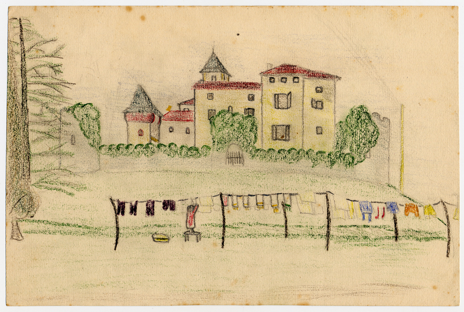 Color child's drawing of a woman hanging laundry outside the Chateau de la Hille created by a child in hiding there.