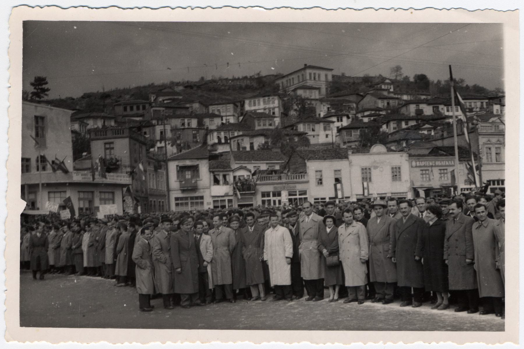 First reunion of the Macedonian Brigade 1.  Among those pictured is Jamila Kolonomos (seventh from right).